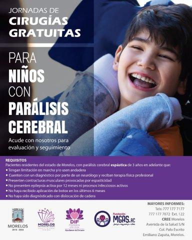"""<a href=""""/noticias/lanza-dif-morelos-convocatoria-para-jornada-de-cirugias-gratuitas-de-paralisis-cerebral"""">LANZA DIF MORELOS CONVOCATORIA PARA JORNADA DE CIRUGÍAS GRATUITAS DE PARÁLISIS CEREBRAL</a>"""